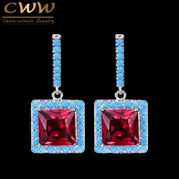 CWWZircons 2018 New Fashion Turkish Light Blue And Red CZ Crystal Elegant Square Drop Dangle Earrings For Women   CZ119