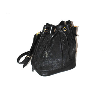 large black leather bucket bag 80s vintage reptile skin genuine leather drawstring purse