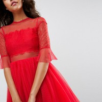 ASOS Tulle Mini Dress with Lace Sleeves at asos.com