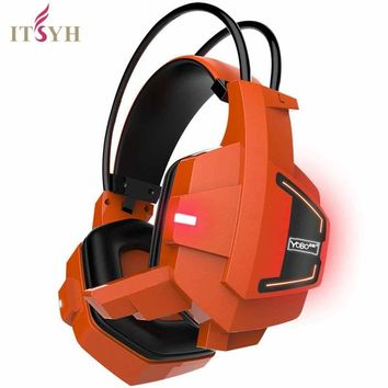 ITSYH Professional Game Headphone with microphone Stereo Surround Over-Ear Gaming Headset Earphone gamer LED headphone TW-762