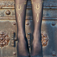 Medallions Print Sheer Footless Tights Black & Gold - TrendyLegs