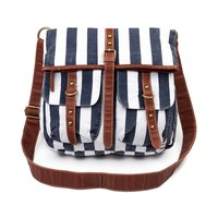 Stripe Crossbody Bag, Navy Cream | Journeys Shoes