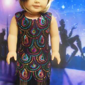 "Historical American girl doll clothes ""Roaring Colors"" (18 inch)Early 1920s flapper gown Art Deco sequined dress Kit Kittredge Great Gatsby"
