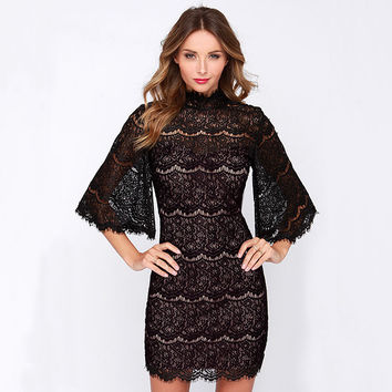 Floral Lace Embroidered Flared Sleeve Bodycon Mini Dress