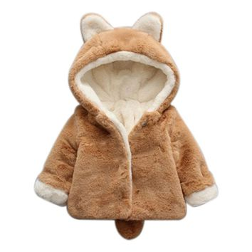 Winter Girl Coat Fashion Baby Boy Girl Winter Quilt Coat Brushed Thickened Outerwear Clothes Hooded Coat