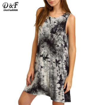 Dotfashion Summer Dresses Casual Loose Tank Dress Summer Beach Dress Black Crew Neck Ink Print Tie-dye Casual Dress