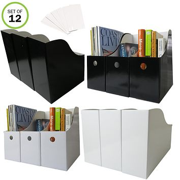"Evelots Magazine File Holder-Organizer-Full 4"" W-Labels-6 Black/6 White"