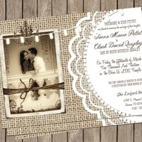 Burlap and Lace Wedding, Invitation, Rustic, Chandelier,String of Lights, Photo Invitation, Printable,, Digital File Personalized, 5x7,