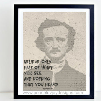 Printable Wall Art, Edgar Allen Poe Poetry, Gothic Home Decor, Steampunk Printable, Wedding Gift, Apartment Decor, 8x10, Instant Download