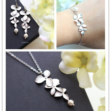Orchid Flower Necklace Jewelry Bridesmaid Gift Orchid Flower Sets Jewelry BraceletS Wedding Jewelry