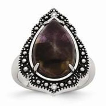 Stainless Steel Polished & Antiqued Amethyst Teardrop Polished Ring
