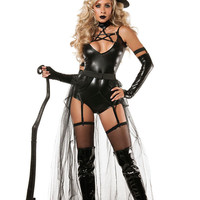 DearLove Hot Selling Sexy Adult Cosplay Halloween Day Bodysuit Lingerie Set 4pcs Miss Witchcraft Erotic Costume for Women LC8940