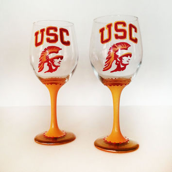 USC wine glasses - set of 2 - pick your team  - 20 oz