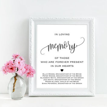 In loving memory wedding sign printable, Forever in our hearts sign, Personalized wedding memorial sign, Wedding remembrance table decor