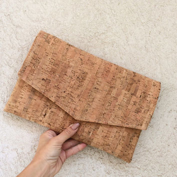Cork clutch bag envelope clutch cork purse cork bag handbag pochette rustic beige vegan made to order