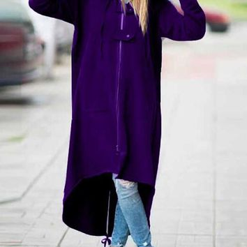 New Purple Irregular Zipper Pockets High-low Casual Hooded Cardigan Coat