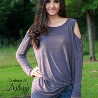 Jodifl Cold Shoulder Long Sleeve Top with Twist Front Detail
