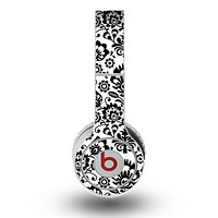 The Black Floral Delicate Pattern Skin for the Original Beats by Dre Wireless Headphones