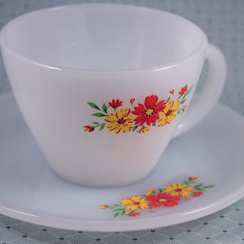 Fire King Orange & Yellow Flower Cup & Saucer Set