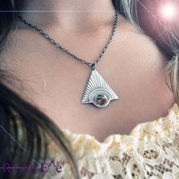 Pyramid Necklace Triangle Charm with Spike Stud Antique Silver tone