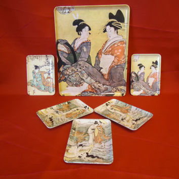 1970s Italian Melamine Trays With Oriental Designs , RDe Import Inc. E.Northport, NY