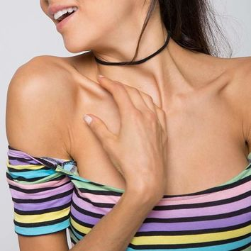 Pastel Poppin' Striped Off the Shoulder Bodysuit