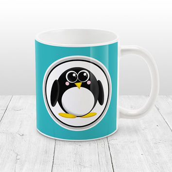 Adorable Penguin Mug - Turquoise Background - Cute Penguin Cartoon Illustration, Turquoise Penguin Mug - 11oz or 15oz - Made to Order