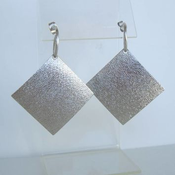 Textured Silvertone Squares Earrings Post Style