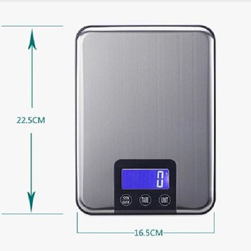 10KG LCD Electronic Kitchen Scales 10kg 1g Slim Stainless Steel Diet Food Digital Scale Touch Grams Weighing Balance Retail Box