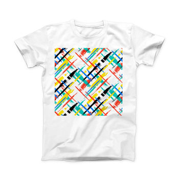 The Intersecting Vector Bright Strokes ink-Fuzed Front Spot Graphic Unisex Soft-Fitted Tee Shirt