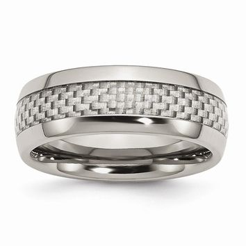 Men's Stainless Steel and Grey Carbon Fiber 8mm Polished Wedding Band Ring