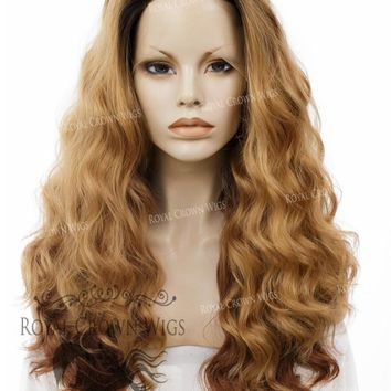 """24 inch Heat Safe Synthetic Lace Front """"Ada"""" with Wavy Texture in Rooted and Tipped Brown"""