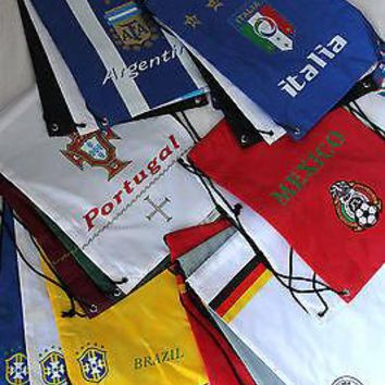 3 Soccer Bag Backpack Drawstring Mexico German Argentina Brazil Portugal Italy