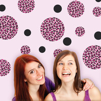 Pink Leopard Print Dot Wall Decals