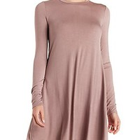 JERSEY KNIT LONG SLEEVE SHIFT DRESS