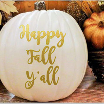 Fall Decor-Pumpkin Decal-White Pumpkin-Holiday Decor-Thankful-Personalized Pumpkin-Halloween-DIY