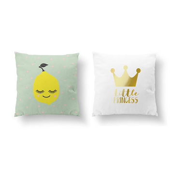 SET of 2 Pillows, Lemon Pillow, Bed Pillow, Little Princess, Gold Pillow, Kids Room Decor, Throw Pillow, Cushion Cover, Nursery Decor