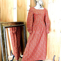 Vintage 60s maxi dress  / 1960s prairie dress / long paisley cotton dress / boho / hippie festival dress / S / M size 6 / 7