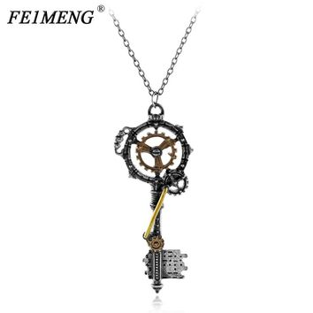 Steampunk Gothic Gear Key Necklace Vintage Metal Color Silver Retro Pendant Necklace For Women Men Fashion Jewelry Collar Choker