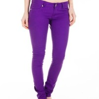 Cotton Cantina Juniors Skinny Jeans Bold Colors (7, Purple)