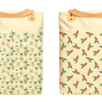 Watercolor Birds Print 100% Cotton Canvas Leather Straps Laptop Backpack WAS_34
