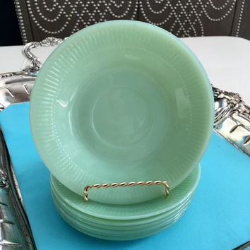 "7 Jadeite Fire King Ware 6"" Tea Cup Saucers Sage Green Vintage Jadite Kitchen Plates, Dishes"
