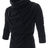 (DK15) TheLees Slim Fit Turtle Neck Ruffle Long Sleeve Tshirts BLACK US M(Tag size XL)