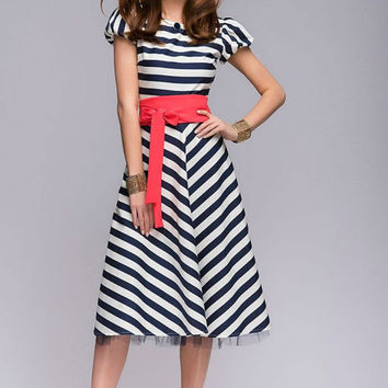 Summer Retro MIDI Dress Woman,Flared Skirt Nautical Dress With Belt.