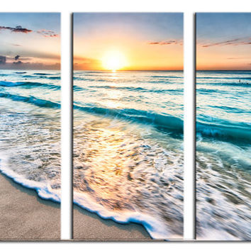 Beach in Cancun Sunrise -3 Panel Split, Triptych Canvas Print. Blue skies, water, wave. For home, office wall decor, interior design. Mexico