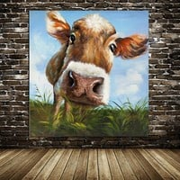 Canvas Wall Art: Abstract Cow Wall Art On Canvas