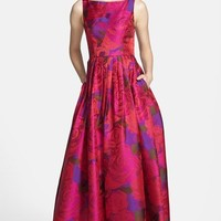 Women's Adrianna Papell Floral Print Jacquard Ballgown,