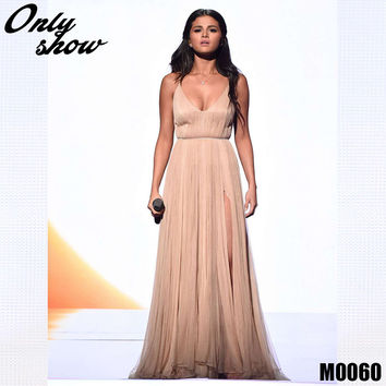 2016 Selena Gomez Champagne Crepe V-Neck Pleats Split Back Cross Long Red Carpet Dress Celebrity Dresses Vestidos
