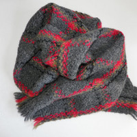 Dark Grey Gray Red Wool Muffler Scarf Branigan Weavers Ireland Men or Women