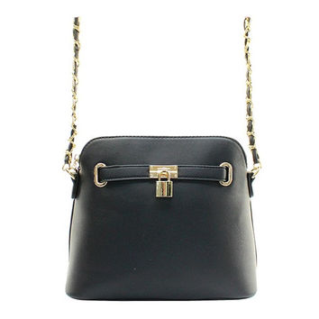 Women's Handbag Black Padlock Messenger Shoulder Handbag